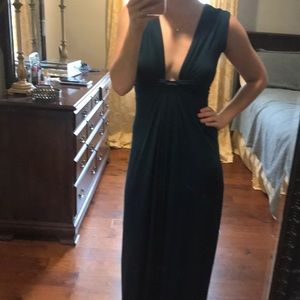 maitai Dresses - Teal Maxi Dress with Plunging Neckline.